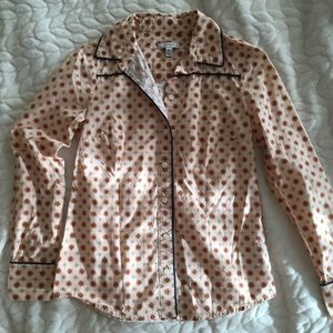 Patterned J Crew Button Down Blouse